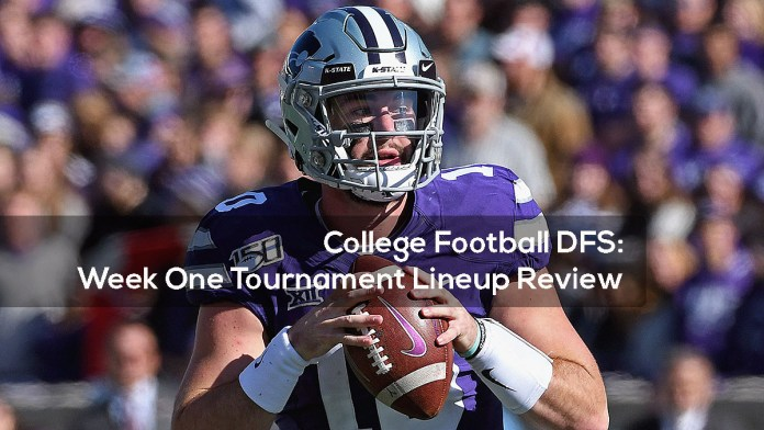 College Football DFS- Week One Tournament Lineup Review