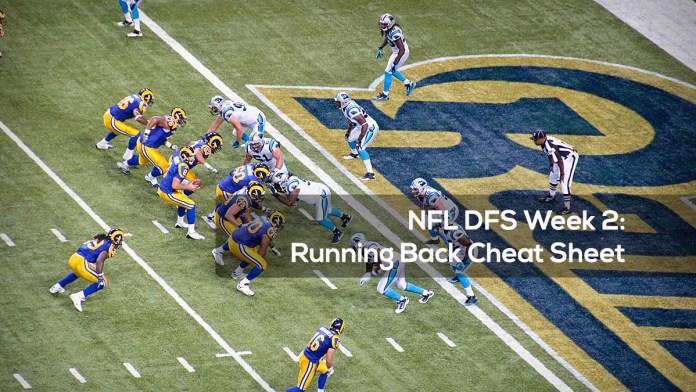 NFL DFS Week 2- Running Back Cheat Sheet