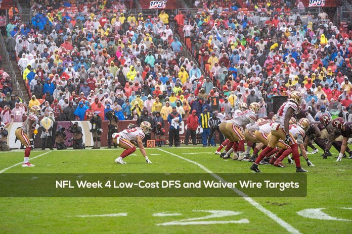 NFL Week 4 Low-Cost DFS and Waiver Wire Targets
