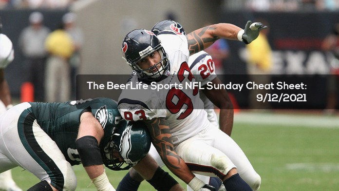 The BeerLife Sports NFL Sunday Cheat Sheet -- 9:12:2021