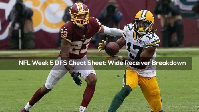 NFL Week 5 DFS Cheat Sheet: Wide Receiver Breakdown