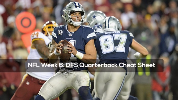 NFL Week 6- DFS Quarterback Cheat Sheet