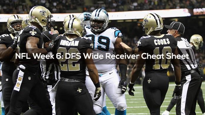 NFL Week 6- DFS Wide Receiver Cheat Sheet