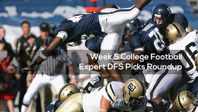 Week 5 College Football Expert DFS Picks Roundup