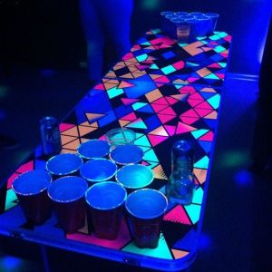 Hand painted neon beer pong table