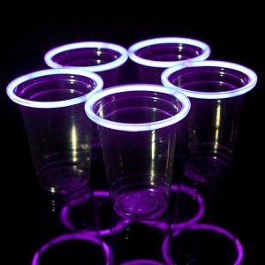 Purple Glowing Beer Pong Cups