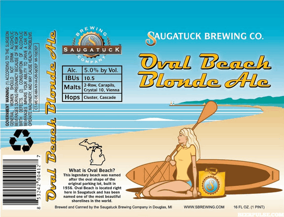 Saugatuck Oval Beach Blonde Ale  BeerPulse