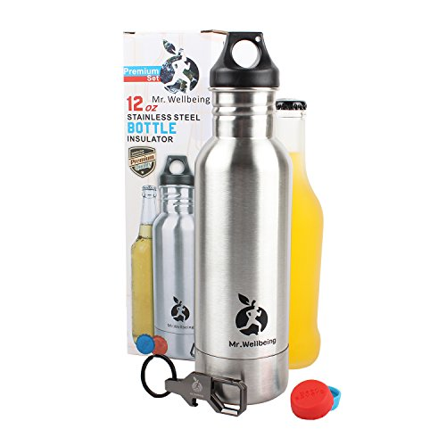The-Best-Christmas-Gift-for-Mans-Beer-Bottle-Cooler-Insulator-Set-by-Mr-Wellbeing-Stainless-Steel-Elegance-Carabiner-Bottle-opener-Carry-Pouch-2-Silicon-Rubber-Bottle-Caps-as-a-Gift-0