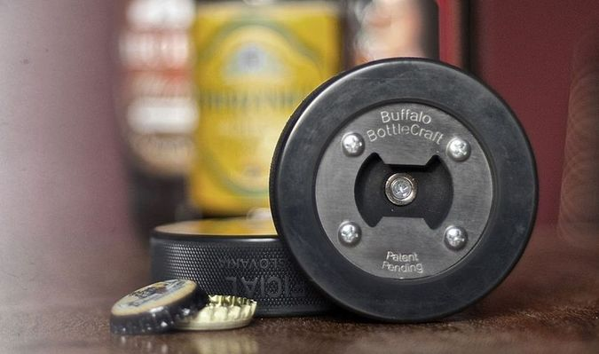 Beer Bottle Opener Made From A Real Hockey Puck