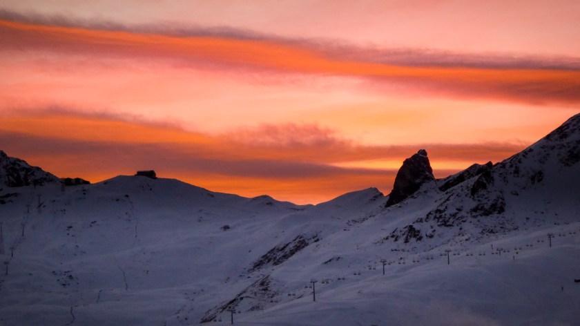 Winterwelten Arosa Lenzerheide Hörnli Sonnenuntergang Abendstimmung Schnee
