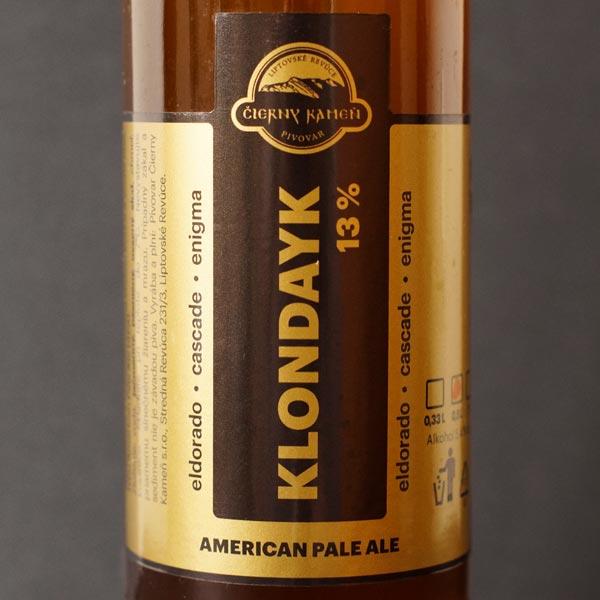 Čierný kameň; Klondayk 13°; Craft Beer; Remeselné Pivo; Živé pivo; Beer Station; Fľaškové pivo; APA; pivovar Čierny Kamen; pivo so sebou