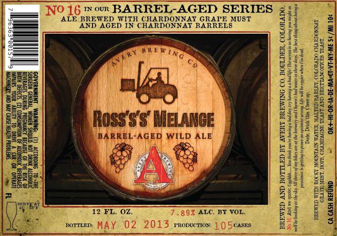 Avery Ross's's' Melange Barrel Aged Wild Ale