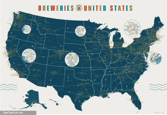 Mega poster of 1000 breweries beer street journal this poster from pop chart lab maps out 1000 of them great for your homeofficetentcampertrailertreehouseteepeesafe roombrewery the poster is 39 gumiabroncs Image collections