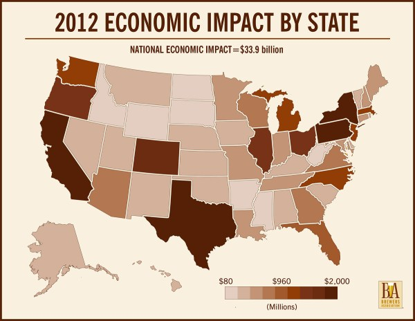 2012 Craft Brewery Economic Impact By State INFOGRAPHIC