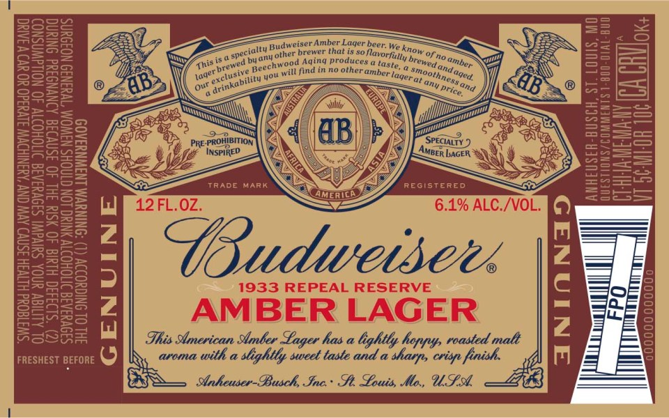 Budweiser 1933 Repeal Reserve Amber Lager
