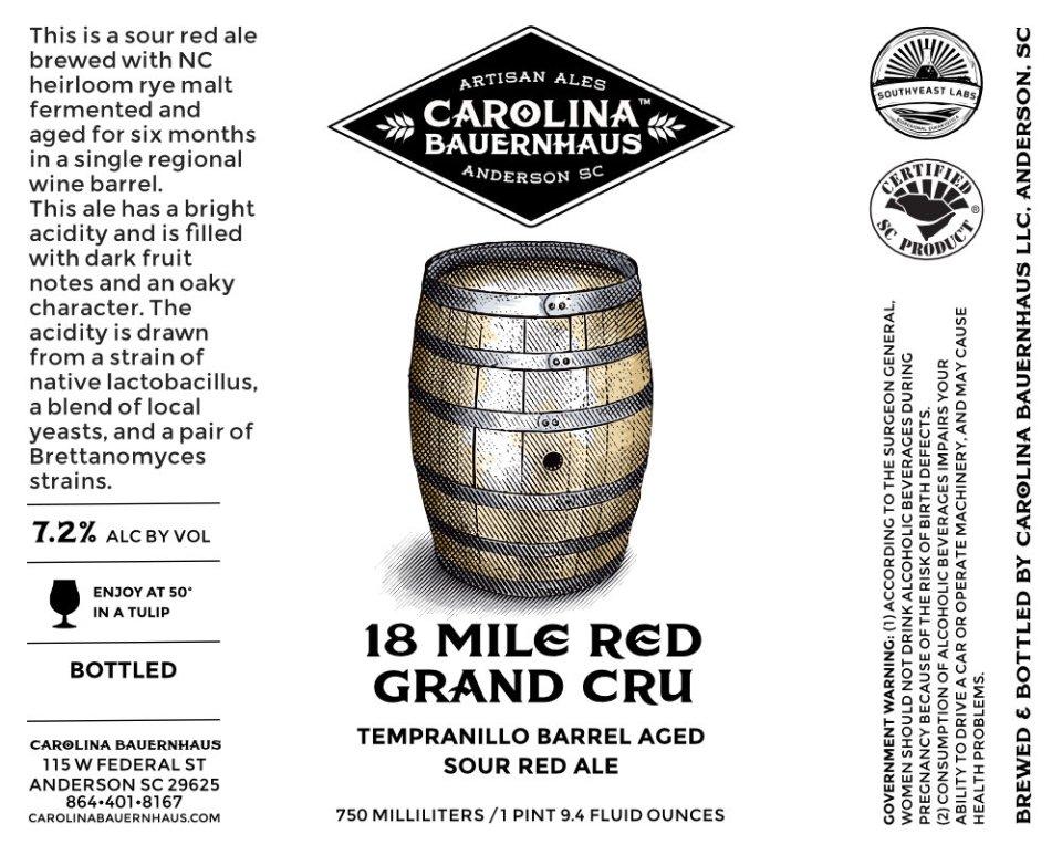 Carolina Bauernhaus 18 Mile Red Grand Cru