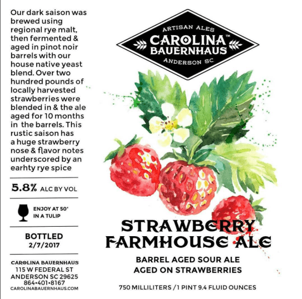 Carolina Bauernhaus Strawberry Farmhouse Ale