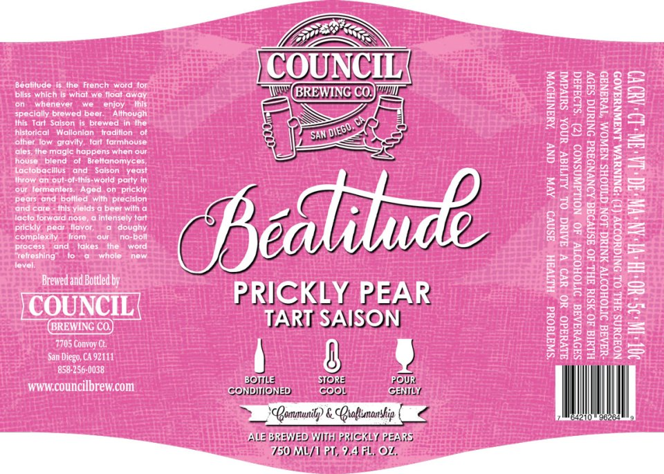 Council Brewing Beatitude Prickly Pear Tart Saison