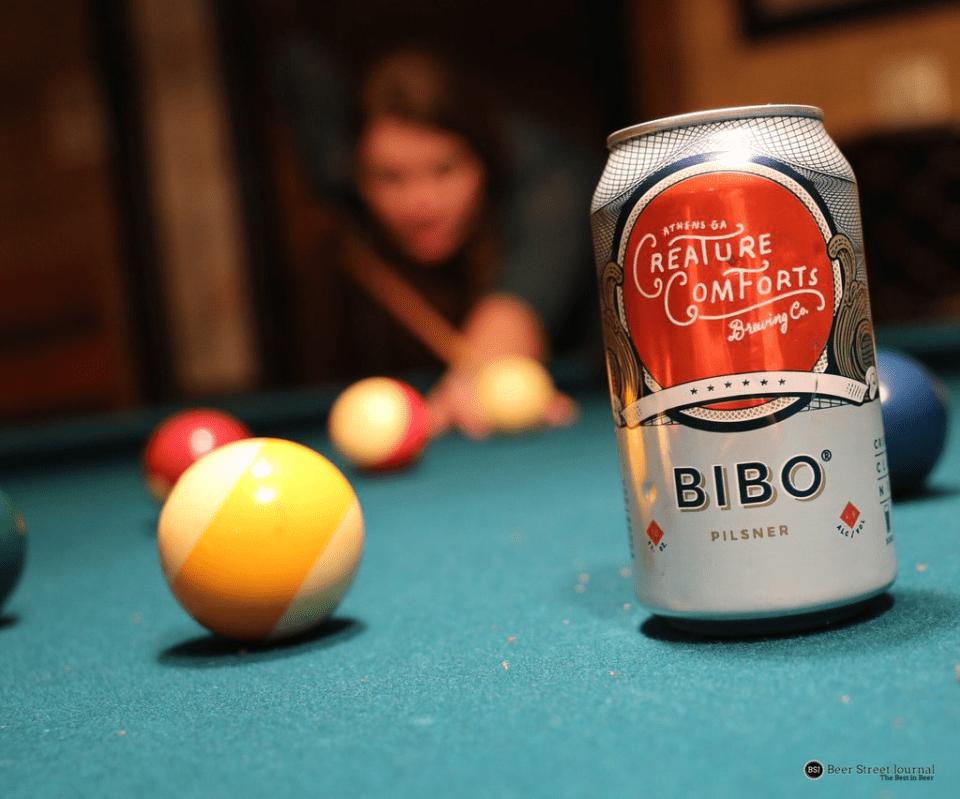 Creature Comforts Bibo Pilsner cans