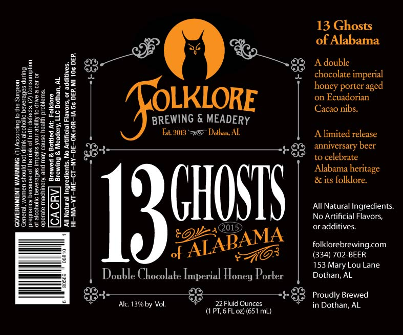 Folklore Brewing 13 Ghosts of Alabama
