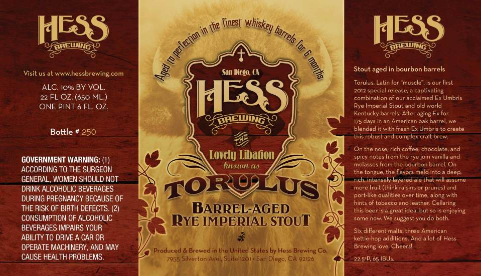 Hess Brewing Torulus Barrel Aged Rye Imperial Stout