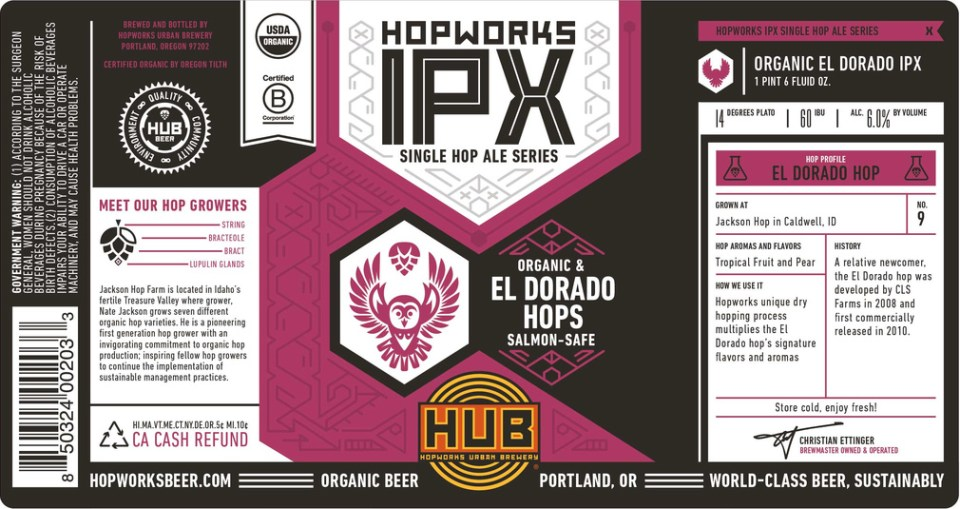 Hopworks Urban Brewery IPX- El Dorado