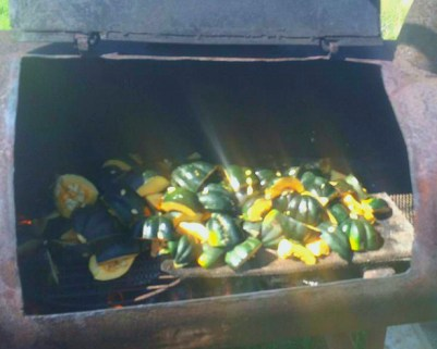 Acorn squash in the smoker
