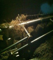 Hay in the mash tun on brew day