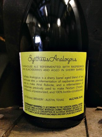 Jester King Synthesis Analogous (Back of the Bottle)