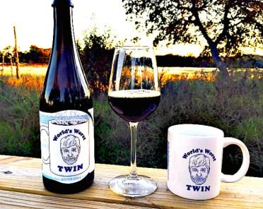 World's Worst Twin bottle, beer, and mug