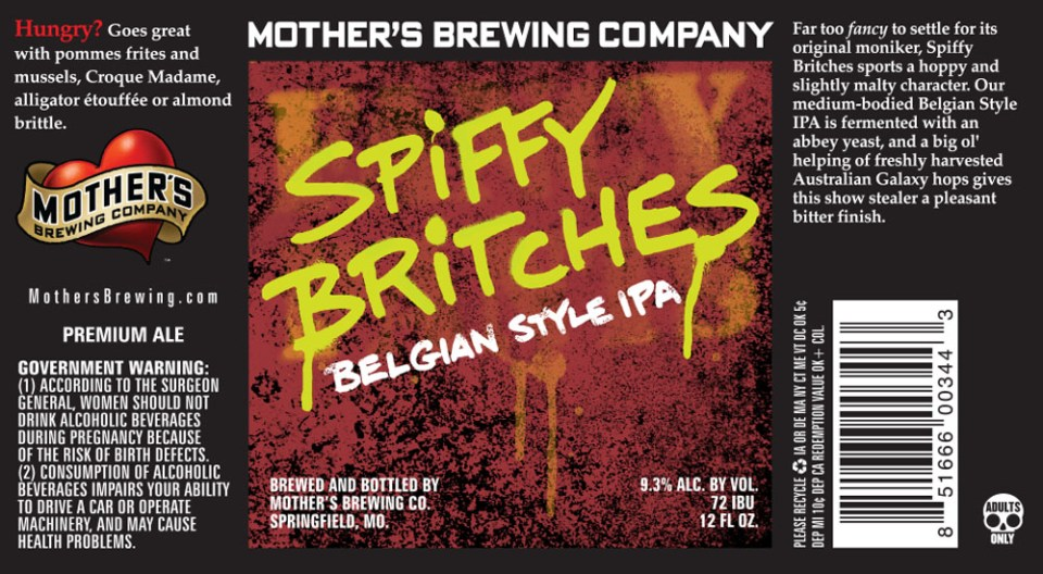 Mother's Brewing Spiffy Britches Belgian Style IPA