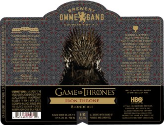 Ommegang Game of Thrones Iron Throne. The blonde ale that kicked off the series.