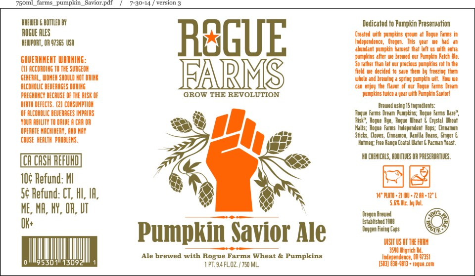 Rogue Farms Pumpkin Savior Ale