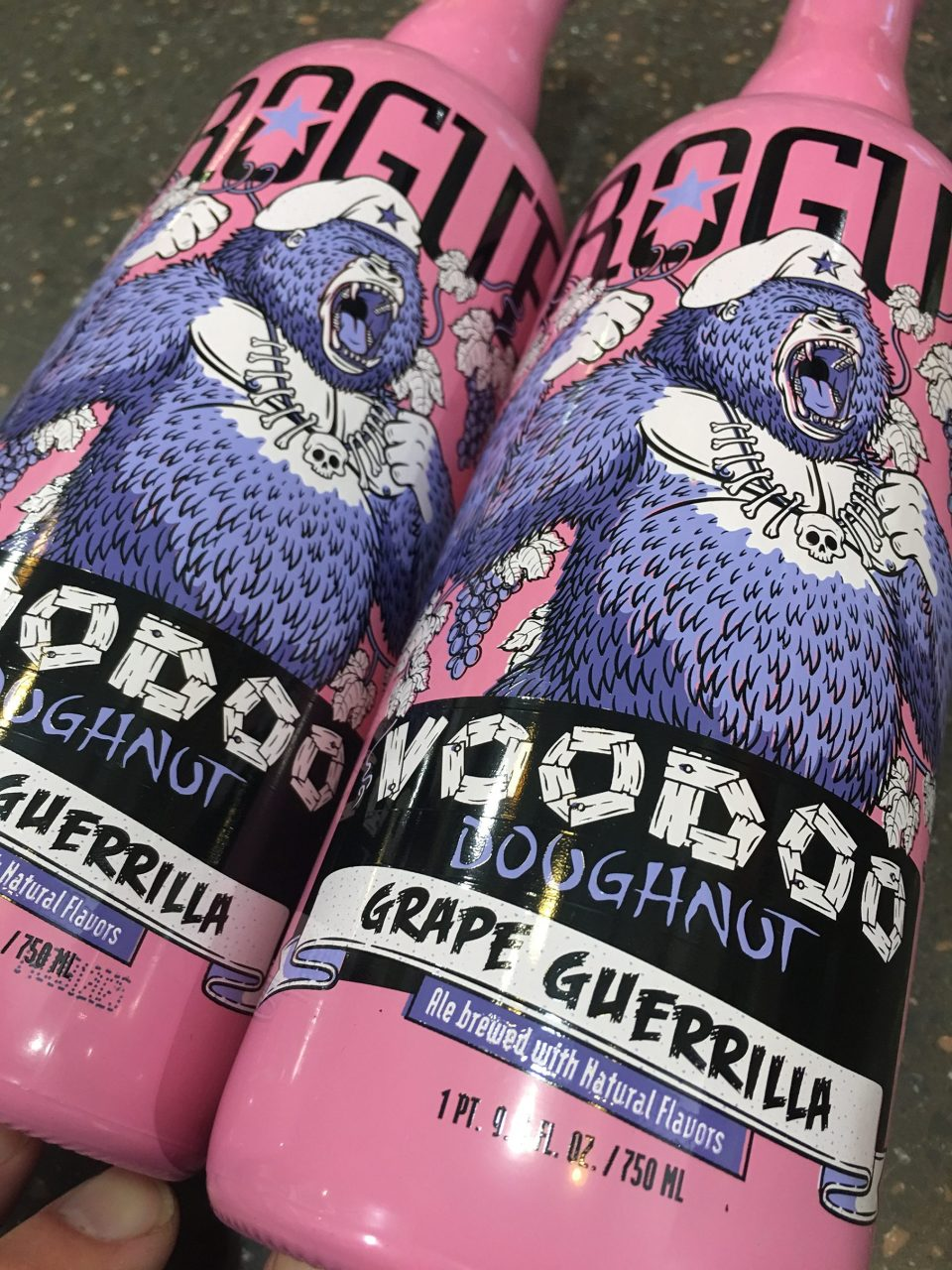 Rogue Voodoo Doughnut Grape Guerrilla bottles