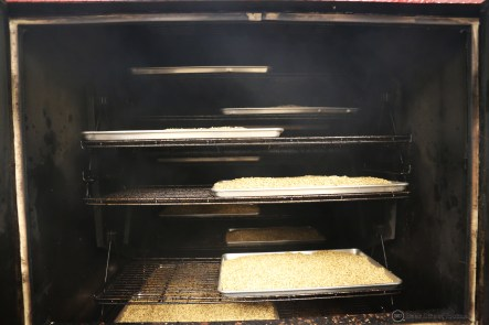 Malt on the smoking racks at Fox Bros BBQ.