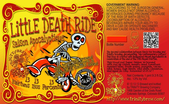 Trinity Brewing Little Death Ride Saison Apocalyptique
