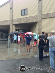 Rainy line to get in