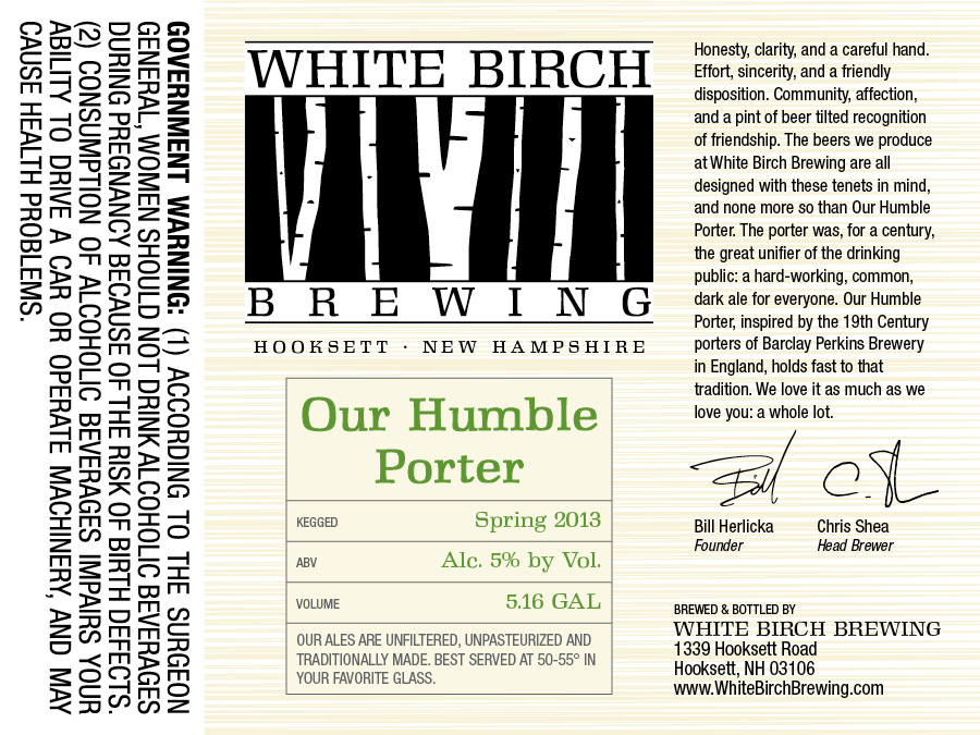 White Birch Our Humble Porter