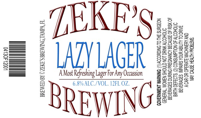 Zeke's Brewing Lazy Lager