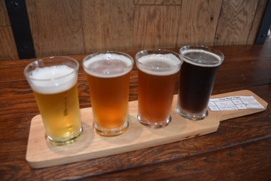 A beer flight at Watering Hole. This got messy.