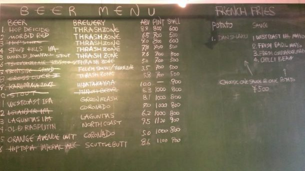 Thrash Zone Beer List