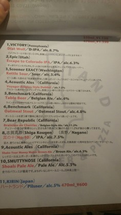 Tap Stand Craft Beer Menu 2