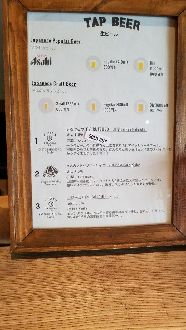 Len Kyoto Kawaramachi Beer 1