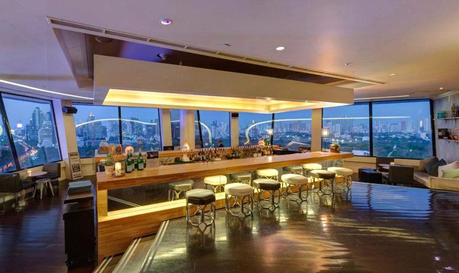 Bar area with a fantastic view of Bangkok. Photo by the Dusit Thani Bangkok