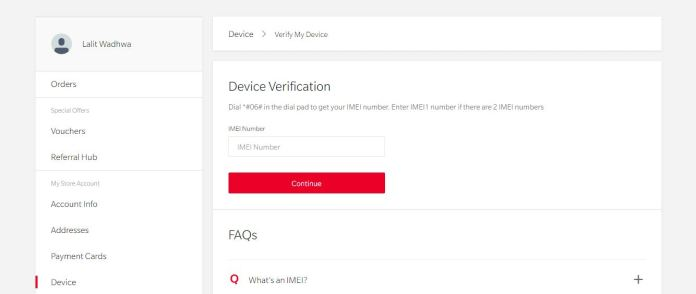 OnePlus IMEI entering and device registration page