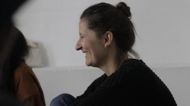 Sophie Twiss in her studio in Vejer
