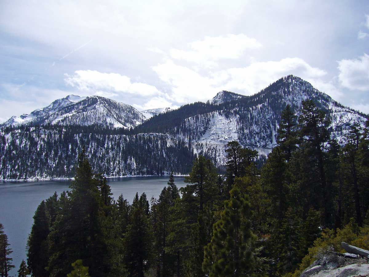 Mt. Tallac (L) and Maggie's Peaks (R) from Vikingsholm Trail
