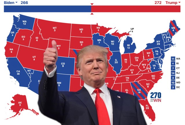 Trump admits six new red states into Union, wins election