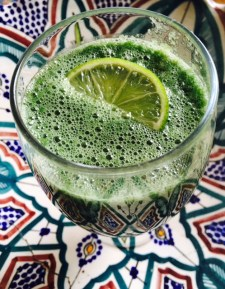 Delicious Green: pear, kale, celery, spirulina, lime juice, coconut water