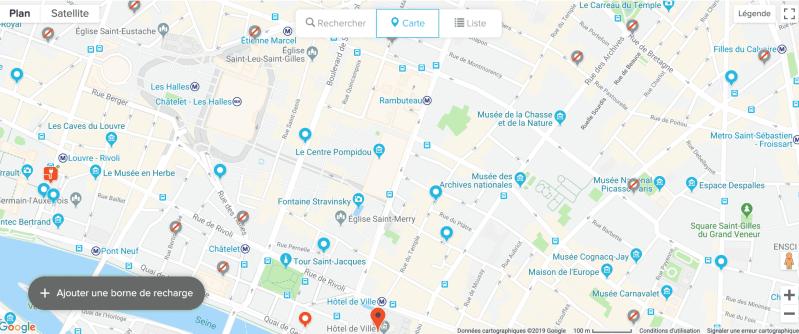 Carte Chargemap sur la ville de Paris
